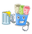 with juice ice cream rolls at cups cartoon vector image