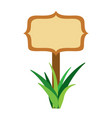 wooden board on a grass empty vector image vector image