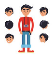young hipster man with camera cartoon character vector image
