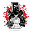 3 samurai composition with flag japanese font vector image vector image