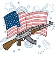 American flag and gun vector image vector image