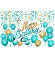 balloons happy birthday on black gold blue vector image vector image