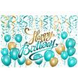 balloons happy birthday on black gold blue vector image