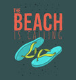 beach summer poster design with flip flop vector image vector image