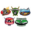 billiard badge design set vector image vector image