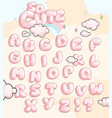 bubble baby pink font set vector image