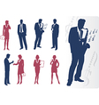 businessmen and businesswomen silhouettes vector image