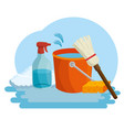 cleaning supplies with bucket sponge and spray vector image vector image