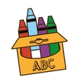 crayons box isolated icon vector image vector image