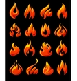Fire flames set 3d red icons on a black ground vector image vector image