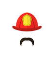 firefighter with mustache wearing helmet men icon vector image vector image