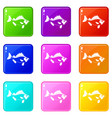 fish icons 9 set vector image vector image