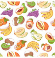 fresh fruits on white background seamless pattern vector image vector image