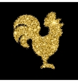 Golden glitter crowing rooster with sparkles vector image
