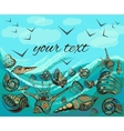 Greeting card seascape birds waves seashells vector image