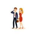 guy and girl talking on the phone vector image vector image