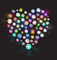 heart made of rhinestones vector image