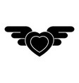 Heart with wings icon black