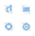 icons with globe email help circle and 24 7 vector image vector image