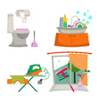 Items for the house cleaning vector image vector image