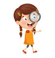 kid with magnifier vector image