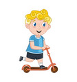 little boy riding on kick scooter vector image vector image