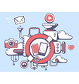 mechanism to use phone and relevant icons vector image vector image