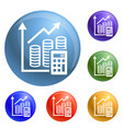money graph icons set vector image vector image