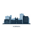 norman skyline monochrome silhouette vector image vector image