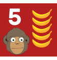 Number 5 - Monkey with five bananas vector image