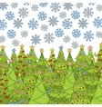 Pattern with Christmas tree and snowflake for vector image vector image