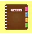 Personal organizer Diary with brown cover vector image
