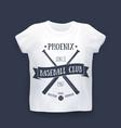 phoenix baseball club print on t-shirt mockup vector image vector image
