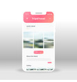 pink tour package page ui ux gui screen for vector image vector image