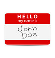 red tag my name is vector image vector image