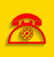 retro telephone sign red icon with soft vector image