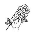 rose tattoo with hand traditional black tyle ink vector image vector image