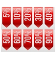 Sale Ribbons with different percentages of vector image vector image