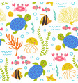 seamless pattern with turtlemarine animals vector image vector image
