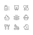 set line icons grill vector image