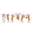 set of christmas reindeer with vector image vector image