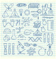 sketched science or chemistry elements set vector image vector image