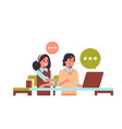 students couple using laptop girl and guy sitting vector image vector image