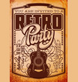stylish color retro party template with guitar vector image vector image