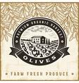 Vintage olive harvest label vector image vector image