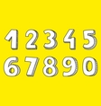 White numbers isolated on yellow background vector image vector image