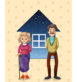 Grandparents in front of the small house vector image