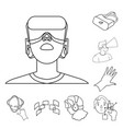 a virtual reality outline icons in set collection vector image