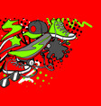 background with cartoon sneakers skateboard and vector image