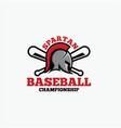 baseball spartan logo vector image vector image